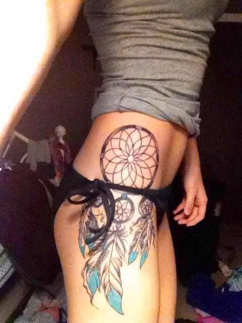 Dream Catcher tattoo on hip/thigh - Now THIS is the location concept that I want!