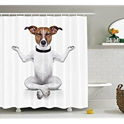 Captivating Dog Lover, Yoga Dog Sitting Relaxed With Closed Eyes Meditation Shower  Curtain Set With Hooks