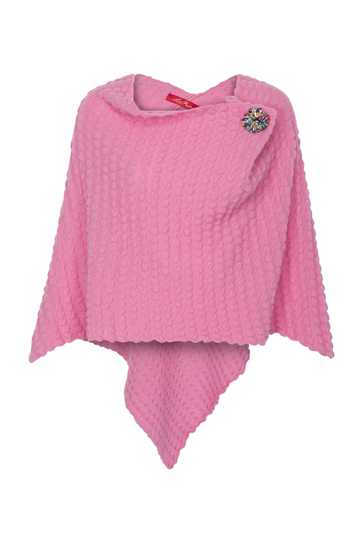 Pink Ginger Bobble cape! This fancy little cape has a soft cowel neck, an attached colorful brooch and a long centre back. €225 on www.louiserawlins.ie