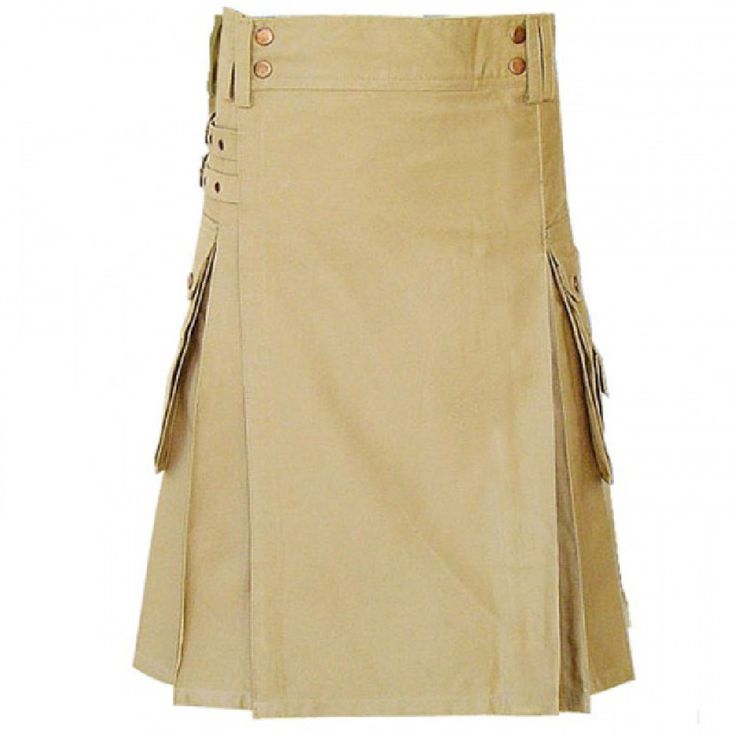 Mens Khaki Contemporary #Kilt front. Our handmade #kilts are built to last and will withstand any manly task you put them up to. The style is traditional with added functionality. The custom #button placement and #buckle closure give our #kilts a unique flare you won't find anywhere else.Visit our online kilt shop we offer most authentic and latest. www.royalkilt.com  http://royalkilt.com/kilts/modern-kilts/mens-khaki-contemporary-kilt-front.html