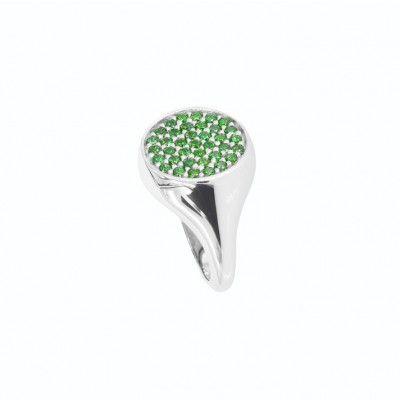 Anello da mignolo in argento con cubic zirconia verdi