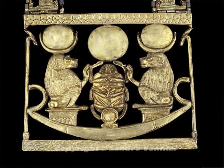Necklace of the birth of the sun (pectoral reverse), from the Funerary Equipment of Tutankhamun – New Kingdom, 18th Dynasty - From Western Thebes, Valley of the Kings, Tomb 62 – (Carter267I), Cairo, Egyptian Museum -