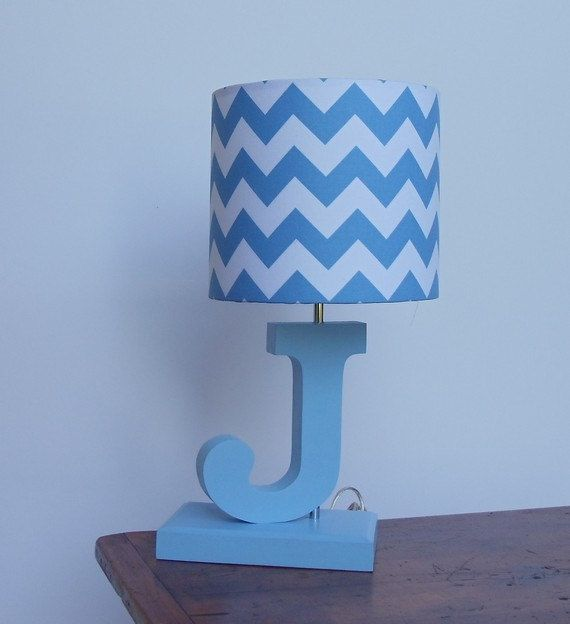 Handmade Blue/White Chevron Lamp Shade - Nursery, Boy's Lamp Shade on Etsy, $25.00