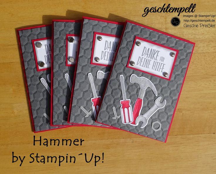 Hallo! Schön, daß Du wieder vorbei schaust! Heute habe ich eine Karte mit dem Stempelset Hammer für Dich! Bei uns zieht ja der Umzug an und da werde ich bestimmt nicht so viel Zeit zum Basteln haben.... Ich habe also schon ein paar Dankeschön Karten für unsere fleißigen Helfer vorbereitet: Was passt