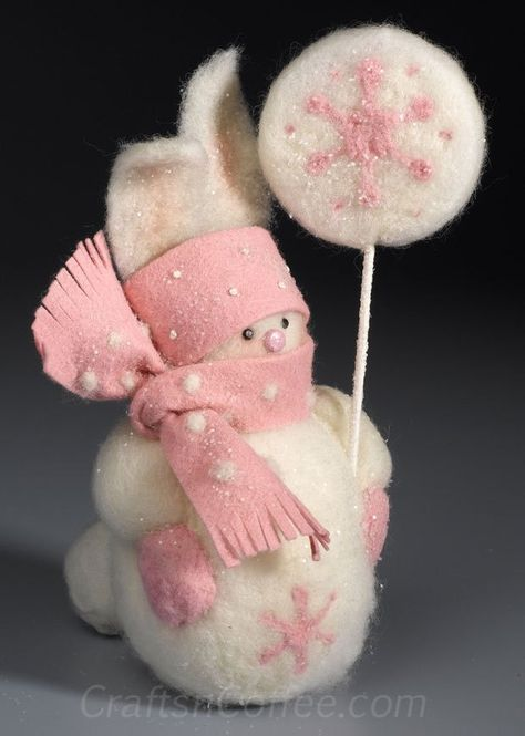 How to make a needle felted snow bunny snowman craft...this is a great and easy way to learn needle felting using styrofoam balls!