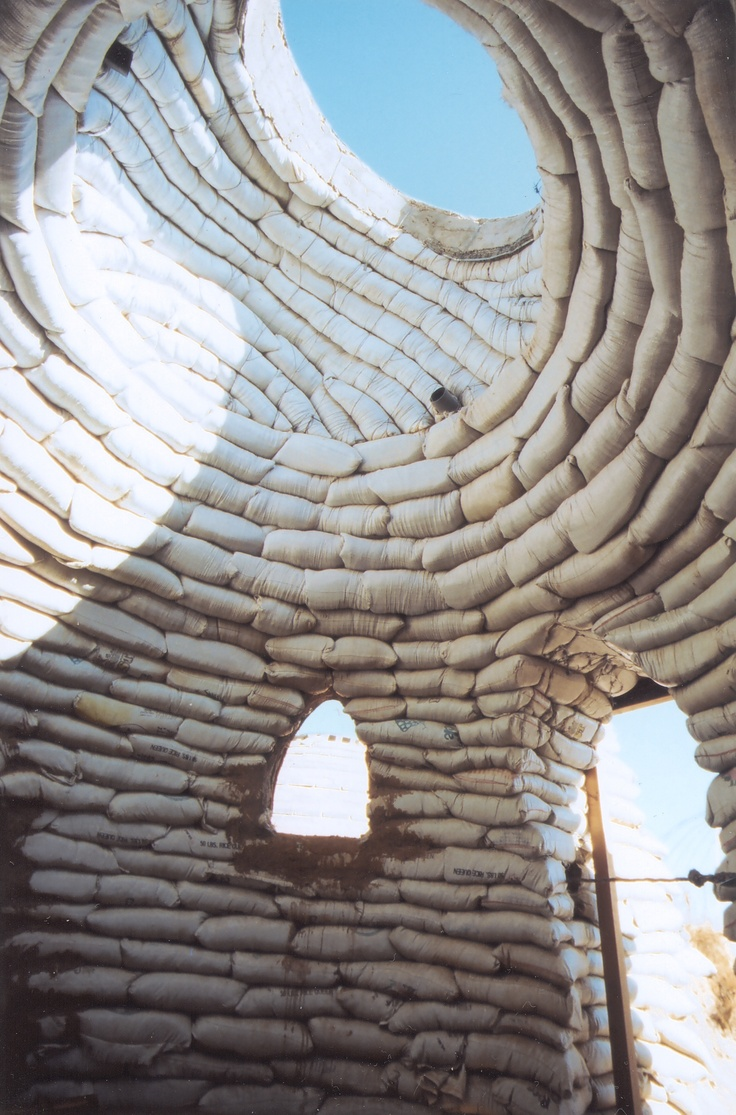 Sandbag Shelter Prototypes, various locations. First development, 1992. Architects: Cal-Earth Institute, Nader Khalili, US.