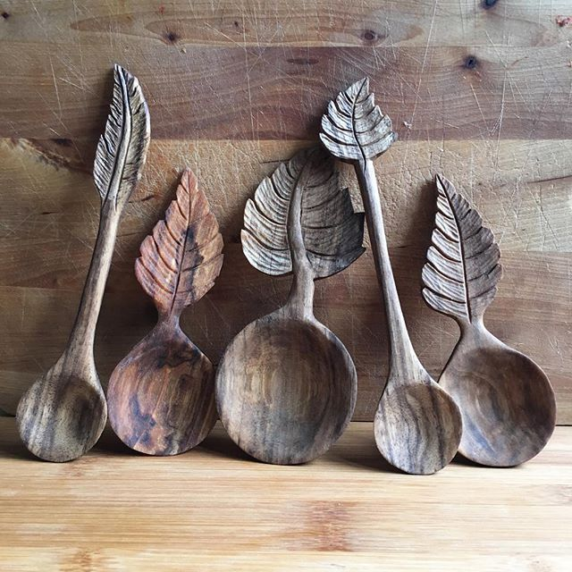 Carved wooden spoons with leaf detail