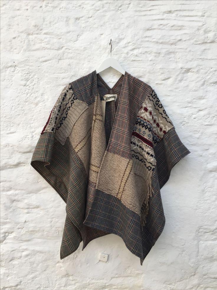 Raggedy — Poncho wrap - Brown Cream Blue