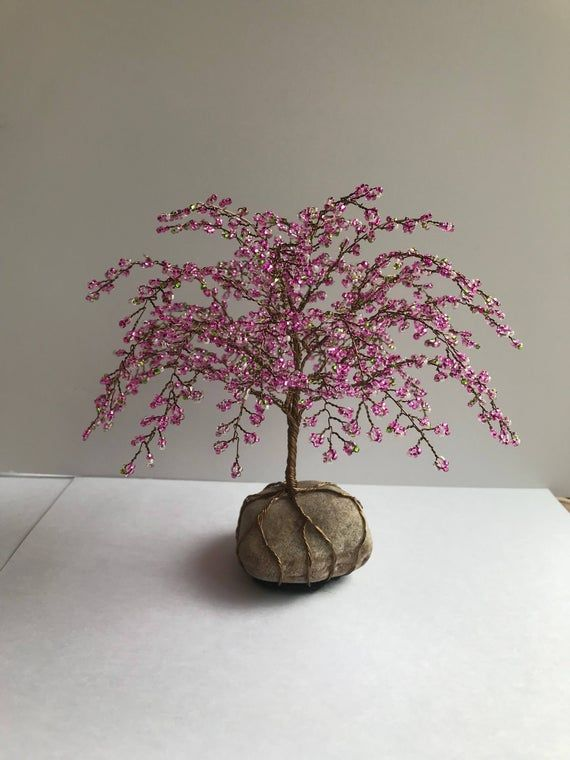 Whimsical Cherry Blossom Tree Cherry Tree Sculpture Beaded Decoration Unique Gift Glass Beads Pink Custom Made Cherry Blossom Tree Blossom Trees Tree Sculpture