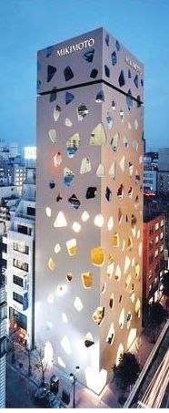 Mikimoto Building. Tokyo Ito. It is a tall, slender building with uniquely cut windows.