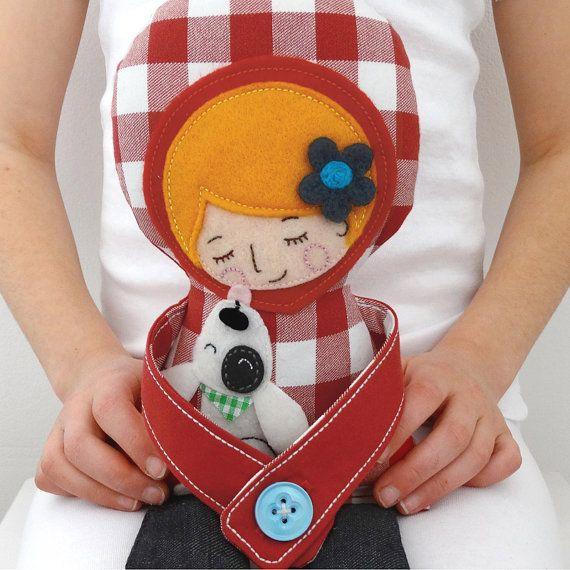 Blonde girl doll - Handmade rag doll hugging a dog, Cloth doll, Unique gift for kids, Nursery room decor
