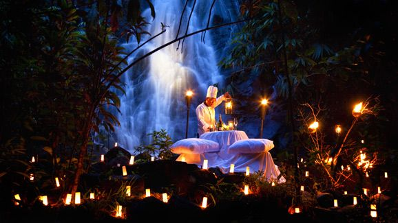 Private Dining by a Candlelit Jungle Waterfall.  The Sarojin, Khao Lak, Thailand.