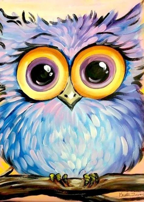 Purple and blue owl with big yellow eyes. Easy-Acrylic-Painting-Ideas-for-Beginners