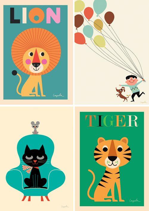 Wild zijn we bij MamaLiefs van deze prints voor aan de muur! Retro prints voor in de retro kinderkamer. Dan is het Feest compleet - Gepind vanaf: vtwonen-site For on the wall: really nice retro prints.