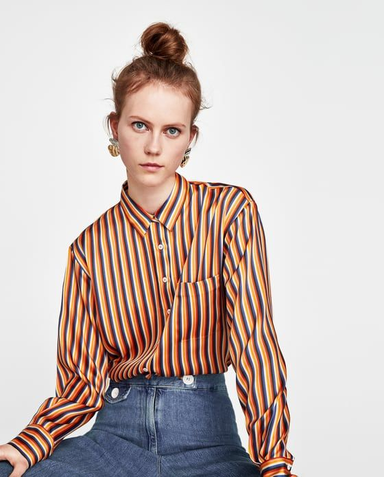 55a12188 Image 5 of STRIPED SATIN SHIRT from Zara | shopping | Shirt blouses ...