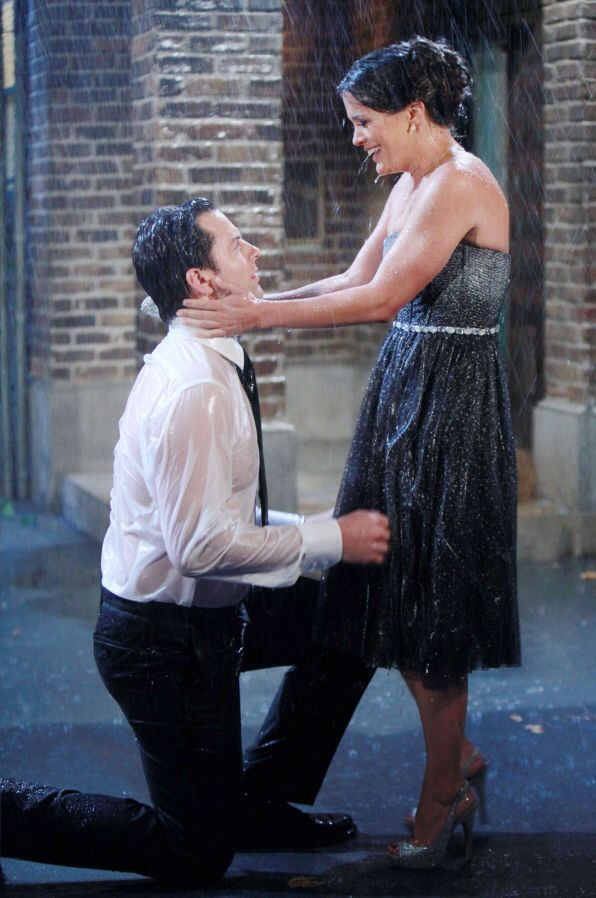 Adam (Michael Muhney) proposed to Chelsea (Melissa Claire Egan) in the rain before they were married at his childhood home in Kansas. I LOVED this scene.