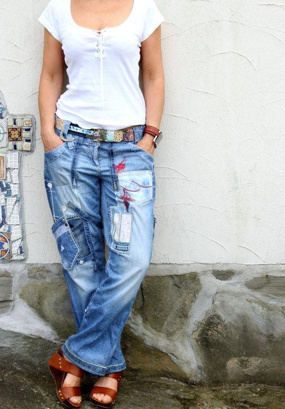 Crazy appliqued recycled upcycled denim jeans by jamfashion, $89.00