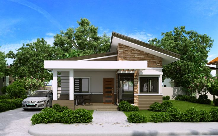 Elvira is a small house plan with porch roofed by a concrete deck canopy and supported by two square columns.