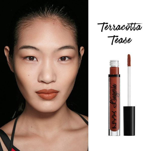 A brown nude with an orange undertone makes lips look fuller without washing out your skin; Lip Lingerie in Exotic, NYX $7