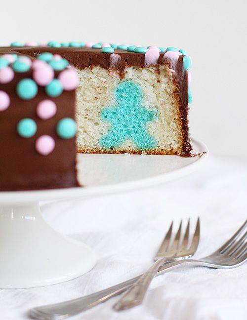 Wow, that's some gender reveal party cake. Recipe from I Am Baker.