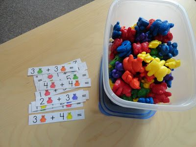Counting Bear Addition Strips for review (more portable than a math mat)