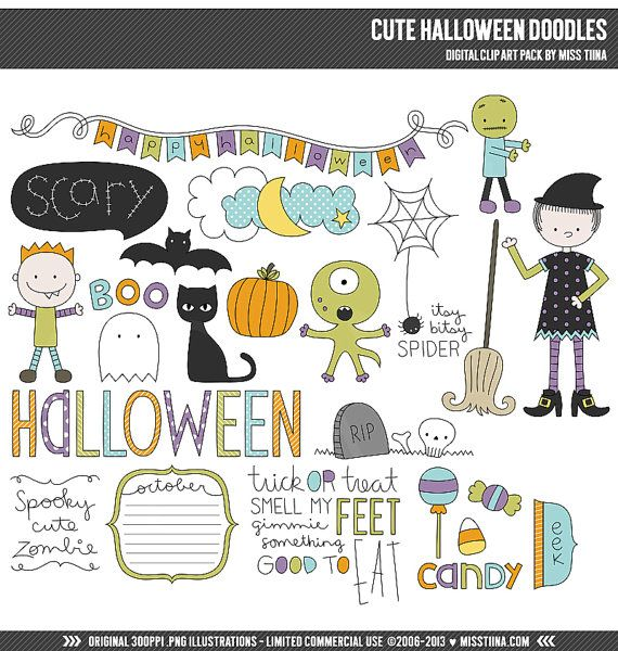 Cute Halloween Doodles Digital Clipart Clip Art Illustrations - instant download - limited commercial use ok