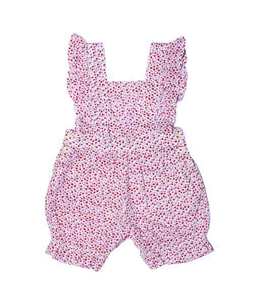 Antonia Romper  Pretty petit floral playsuit with ruffled flutter sleeves and gently elasticated legs.Snaps for easy changing.  100% fine cotton