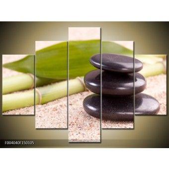 Jade kövek bambusszal vászonkép 150 x 105 cm 5 részes