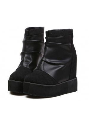 Winter Fall Increase Montage Back Zipper Wedge Heel Boots