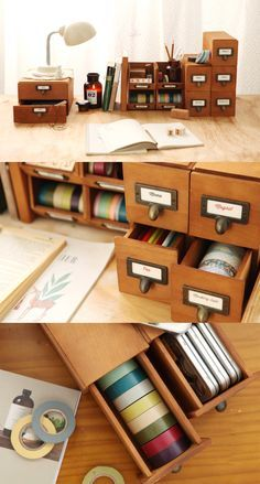 How about these vintage wood drawers to bring together all your stationeries and craft supplies?