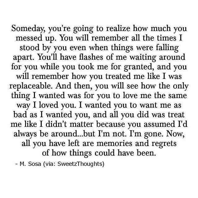 You'll regret it when everything falls apart.
