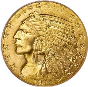 The $5 Gold Indian Head Coins Indians were minted for just 10 years between 1908 to 1929. The famous sculptor Bela Lyon Pratt was commissioned by President Roosevelt to design the $2.50 and $5 gold coins.   $5 Gold Indian Head Coins MS-62  Price: $840