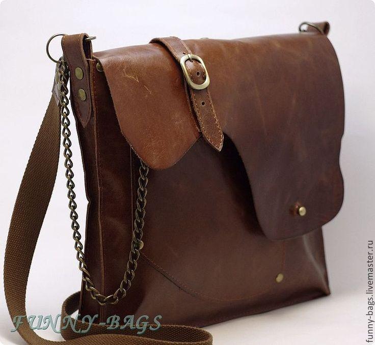 Купить Мужская кожаная сумка - коричневый, однотонный, ручная авторская работа, сумка ручной работы