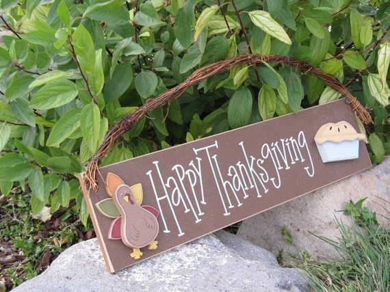 HAPPY THANKSGIVING with a  TURKEY and Pie sign for by lisabees, $31.50