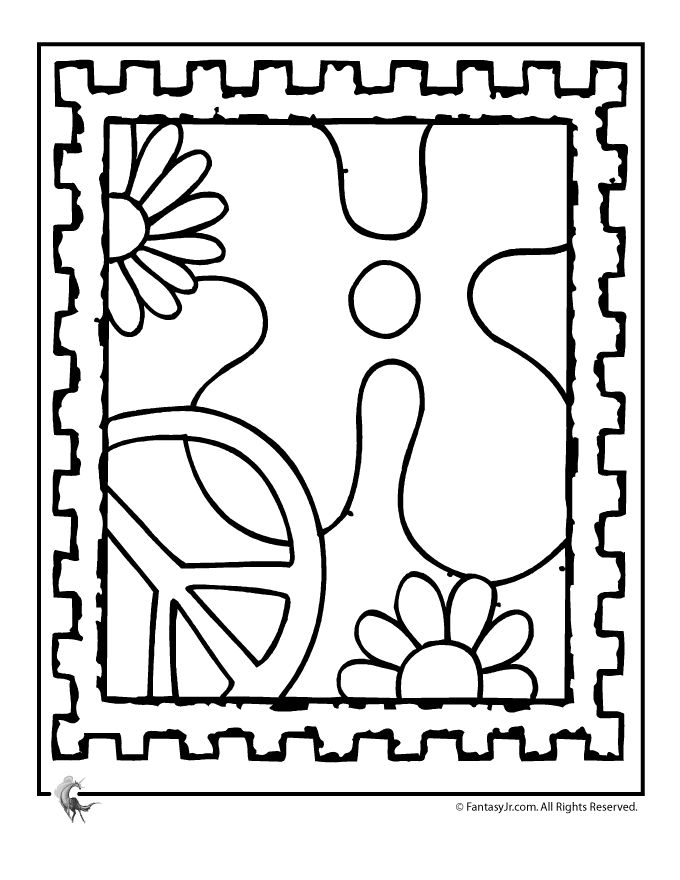 fantasy jr peace stamp coloring page