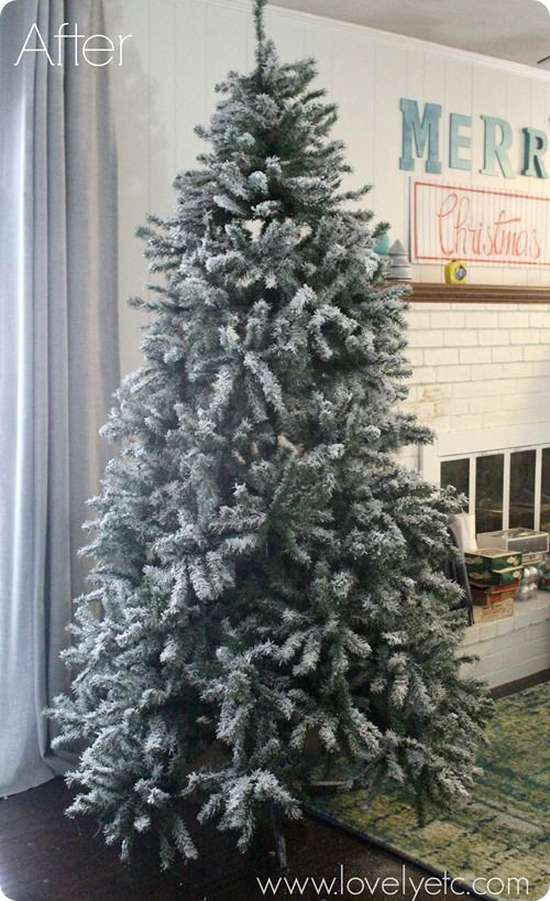 You can turn any Christmas tree into a gorgeous snowy flocked Christmas tree. Instructions on how to DIY your own.