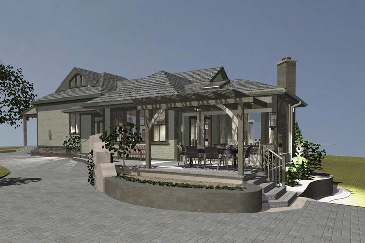 3D render shows proposed new family room with raised planters, screened in porch and decks.