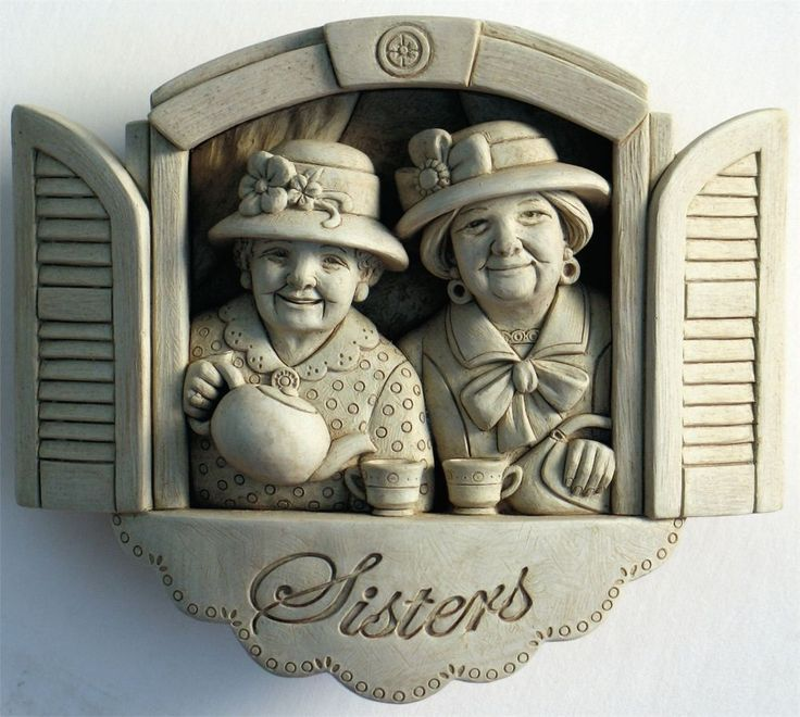 """Carruth Studios """"Forever Sisters"""" Hand Cast Sculpture Natural Stone Finish"""