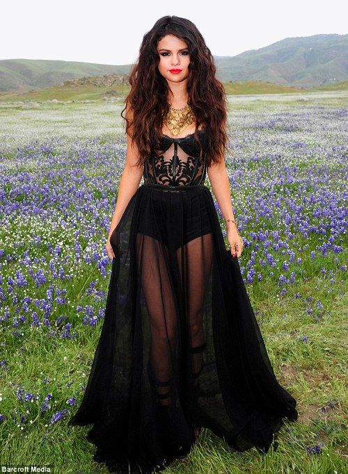 "Selena Gomez on the set on ""Come and Get it"" that dress is FABULOUS"