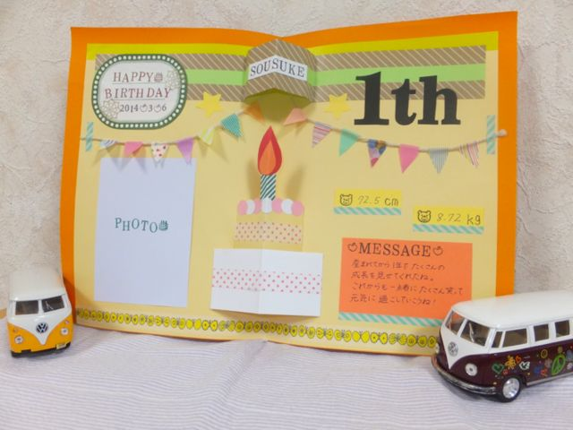 お誕生日にお子さんの成長や写真を残すことのバースデーカードです♡お子さんのお誕生日を大切な思い出として残すことが出来る一枚です⑅❛ั◡❛ั⑅また壁に立てかけることで飾ることも可能です!1枚目から4枚目の写真は実際の使用例になりお届けする商品は5枚目の写真...