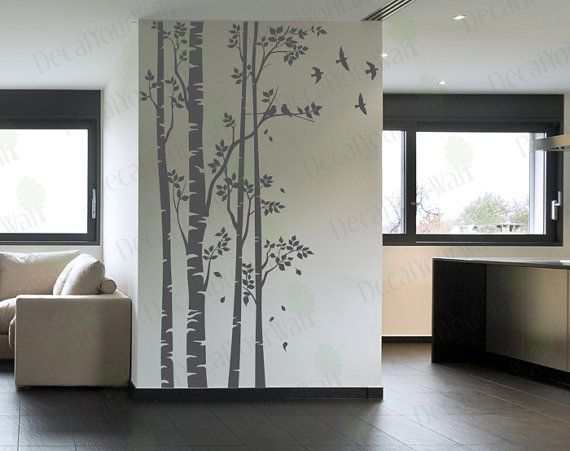 Etsy, $94. (would leave out birds possibly and do fewer leaves) Birch Tree Wall Decal Forest Large Trees Decals Nursery Sticker Living room Bedroom Home Decor Birds Removable Vinyl Stickers Wall Mural 96""
