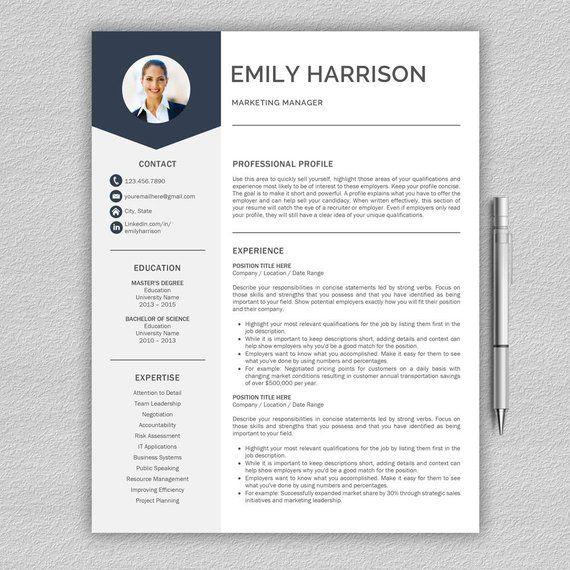 Resume Template Cv Template Cover Letter For Word Resume Etsy Cv Template Resume Template Resume Tips