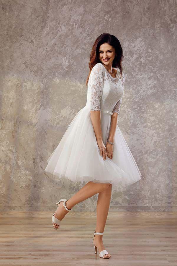 Brand Moden Standesamtkleid Tull Mit Spitze Braut Brautmode Brautkleid Kurz