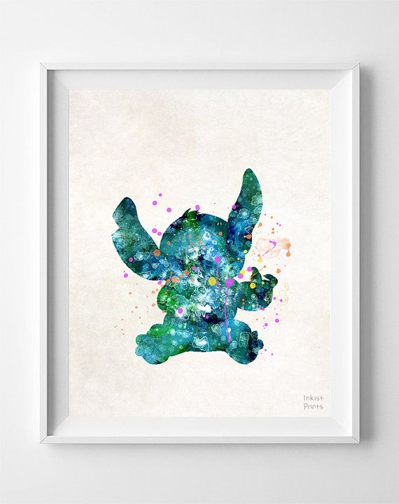 Stitch, Disney, Print, Lilo and Stitch Movie, Watercolor, Poster, Illustration Art, Wall, Kid Room, Nursery, Home Decor, Gift, Children