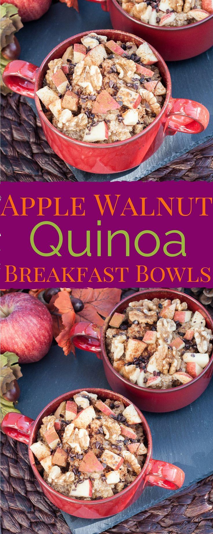 Apple Walnut Quinoa Breakfast Bowls Recipe | VeganFamilyRecipes.com | #vegan #gf #glutenfree #healthy #low cal #clean eating #am #fall #thanksgiving