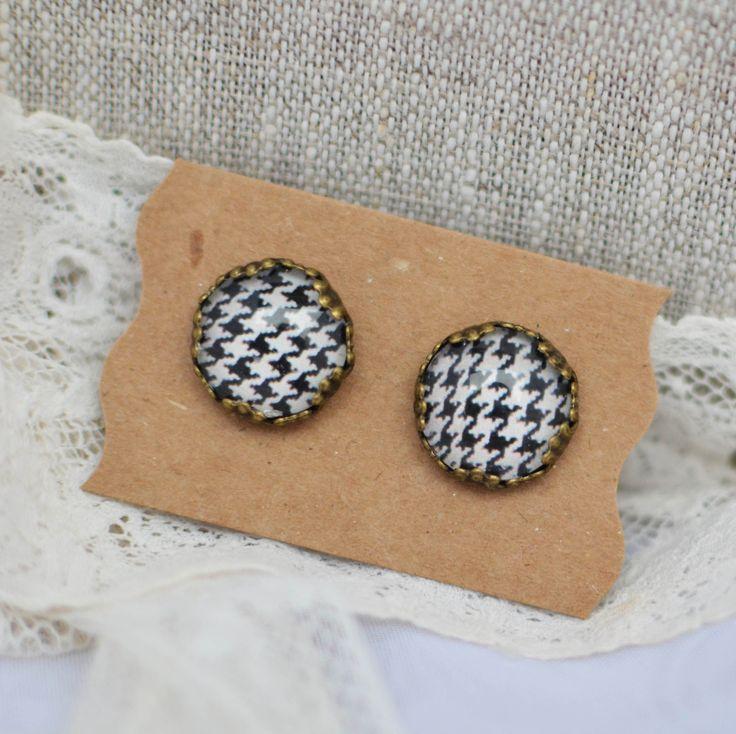 Puces d'oreille cabochon imprimé vichy style rétro : Boucles d'oreille par bohemiasroad
