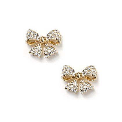 Crystal Studded Gold Bow Stud Earrings from Claire's