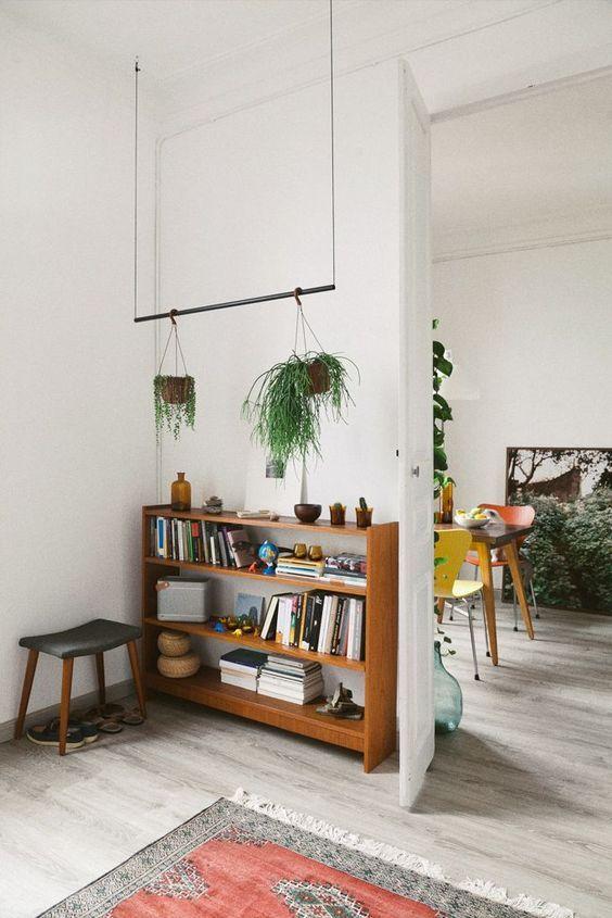 short bookshelf, hanging plants