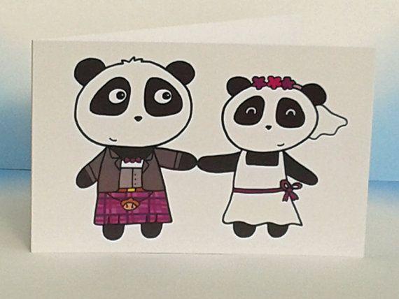 Cute Wedding Card  Pandas  Scottish  Funny by penguinparadeshop