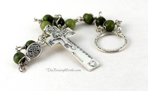 6f3c6fbfb0f3d Irish Penal Rosary Beads Green Connemara Marble Celtic Knot An ...